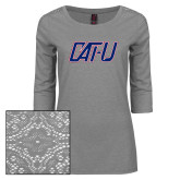 Ladies Grey Heather Tri Blend Lace 3/4 Sleeve Tee-Cat U