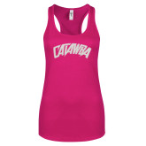 Next Level Ladies Raspberry Jersey Racerback Tank-Catawba Primary Mark White Soft Glitter