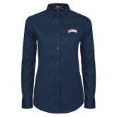 Ladies Navy Twill Button Down Long Sleeve-Catawba Primary Mark