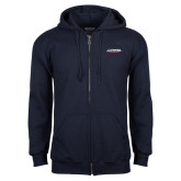 Navy Fleece Full Zip Hood-Catawba with Swoop