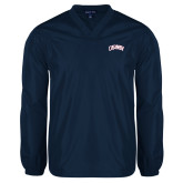 V Neck Navy Raglan Windshirt-Catawba Primary Mark