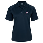 Ladies Navy Textured Saddle Shoulder Polo-C with Feathers