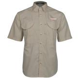 Khaki Short Sleeve Performance Fishing Shirt-Catawba with Swoop