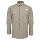 Khaki Long Sleeve Performance Fishing Shirt-Catawba with Swoop