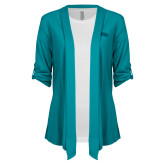 Ladies Teal Drape Front Cardigan-Catawba Primary Mark