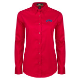 Ladies Red Twill Button Down Long Sleeve-Catawba Primary Mark