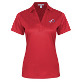 Ladies Red Performance Fine Jacquard Polo-C with Feathers
