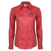 Ladies Red House Red Long Sleeve Shirt-Catawba Primary Mark