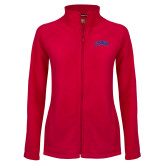 Ladies Fleece Full Zip Red Jacket-Catawba Primary Mark