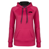 Ladies Pink Raspberry Tech Fleece Hooded Sweatshirt-Catawba Primary Mark