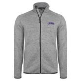 Grey Heather Fleece Jacket-Catawba Primary Mark