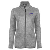Grey Heather Ladies Fleece Jacket-Catawba Primary Mark