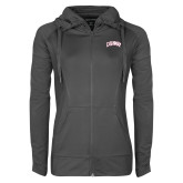 Ladies Sport Wick Stretch Full Zip Charcoal Jacket-Catawba Primary Mark