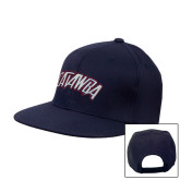 Navy Flat Bill Snapback Hat-Catawba Primary Mark
