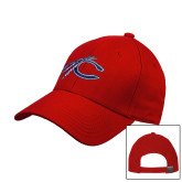 Red Heavyweight Twill Pro Style Hat-C with Feathers