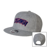 Heather Grey Wool Blend Flat Bill Snapback Hat-Catawba Primary Mark