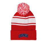 Red/White Two Tone Knit Pom Beanie with Cuff-Catawba Primary Mark