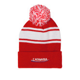 Red/White Two Tone Knit Pom Beanie w/Cuff-Catawba with Swoop