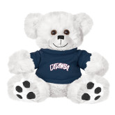 Plush Big Paw 8 1/2 inch White Bear w/Navy Shirt-Catawba Primary Mark