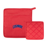 Quilted Canvas Red Pot Holder-Catawba Primary Mark