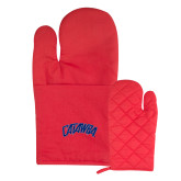 Quilted Canvas Red Oven Mitt-Catawba Primary Mark
