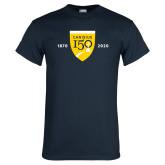 College Navy T Shirt-Sesqui Crest Dates