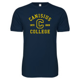 College Next Level SoftStyle Navy T Shirt-Retro Logo 1