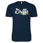 College Next Level SoftStyle Navy T Shirt-Retro Logo 2