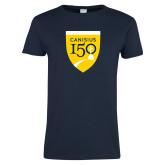 College Ladies Navy T Shirt-Sesqui Crest