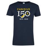 College Ladies Navy T Shirt-Sesqui Crest Dates