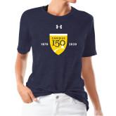 College Ladies Under Armour Heather Navy Triblend Tee-Sesqui Crest Dates