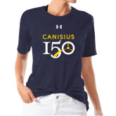 College Ladies Under Armour Heather Navy Triblend Tee-Sesqui Text