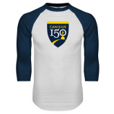 College White/Navy Raglan Baseball T Shirt-Sesqui Crest