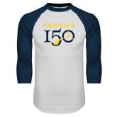 College White/Navy Raglan Baseball T Shirt-Sesqui Text