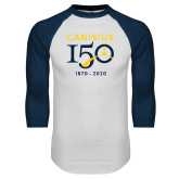 College White/Navy Raglan Baseball T Shirt-Sesqui Crest Dates