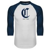 College White/Navy Raglan Baseball T Shirt-Retro Logo 3