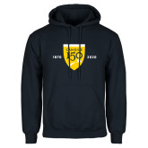 College Navy Fleece Hoodie-Sesqui Crest Dates