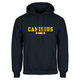 College Navy Fleece Hoodie-Retro Logo 4