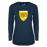 College Ladies Syntrel Performance Navy Longsleeve Shirt-Sesqui Crest