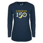 College Ladies Syntrel Performance Navy Longsleeve Shirt-Sesqui Text