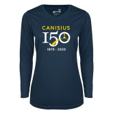 College Ladies Syntrel Performance Navy Longsleeve Shirt-Sesqui Crest Dates