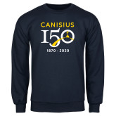 College Navy Fleece Crew-Sesqui Crest Dates