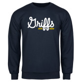 College Navy Fleece Crew-Retro Logo 2