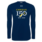 College Under Armour Navy Long Sleeve Tech Tee-Sesqui Crest Dates