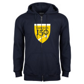 College Navy Fleece Full Zip Hoodie-Sesqui Crest