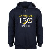 College Navy Fleece Full Zip Hoodie-Sesqui Crest Dates