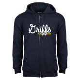 College Navy Fleece Full Zip Hoodie-Retro Logo 2