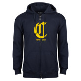 College Navy Fleece Full Zip Hoodie-Retro Logo 3