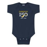 College Navy Infant Onesie-Sesqui Crest Dates