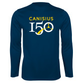 College Performance Navy Longsleeve Shirt-Sesqui Text